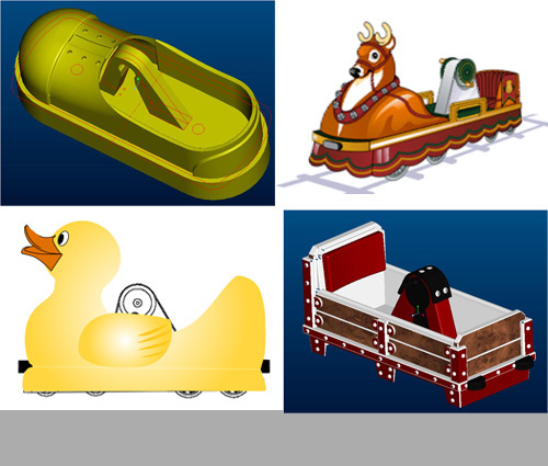 custom themed car designs, duck pedal car, mining pedal car, shoe pedal car